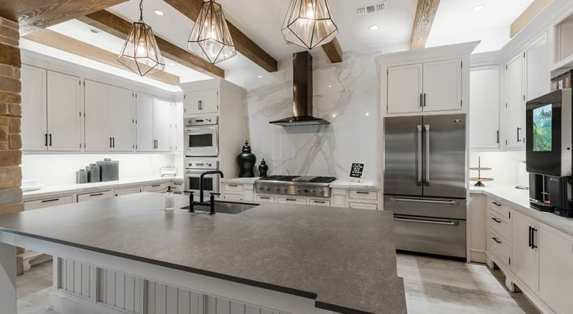 Resident kitchen at our Preserve on Fredericksburg apartment clubhouse