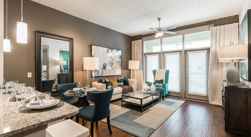 Wood-style flooring at apartments for rent in Euless, TX