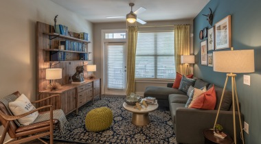 Spacious apartment living room at our Brookhaven apartments