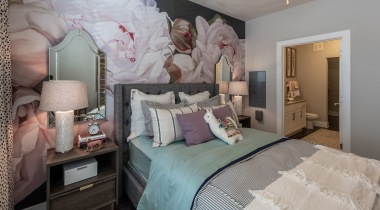 Modern apartment bedroom at Cortland North Druid Hills