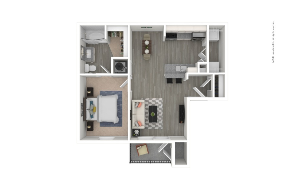 A1 - Haven 1 bedroom 1 bath 594 square feet
