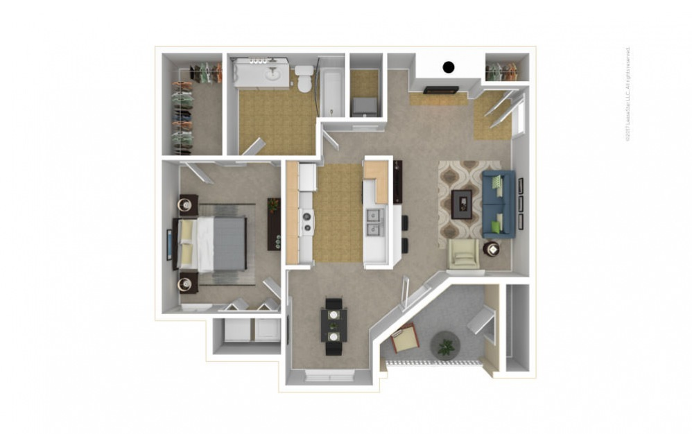 The Heathmoor Floor Plan—3D Furnished