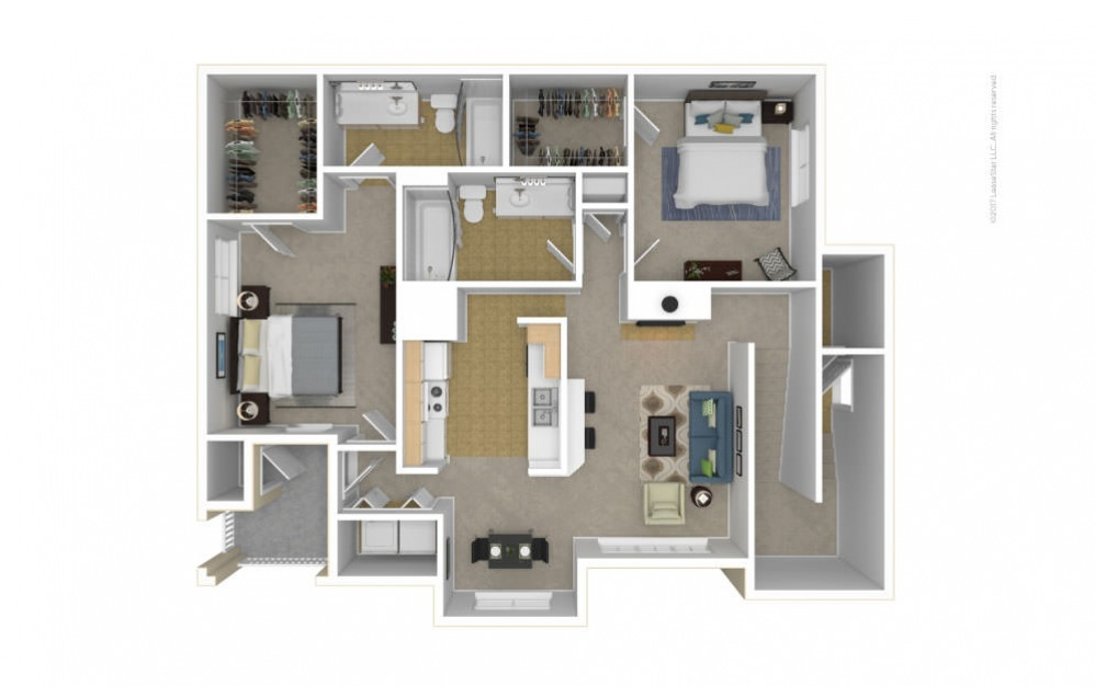 The Ivy Glen Floor Plan—3D Furnished