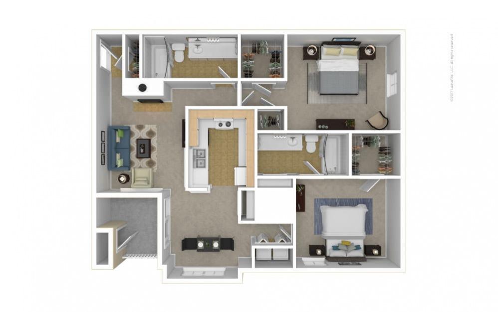 The Kensington Floor Plan—3D Furnished