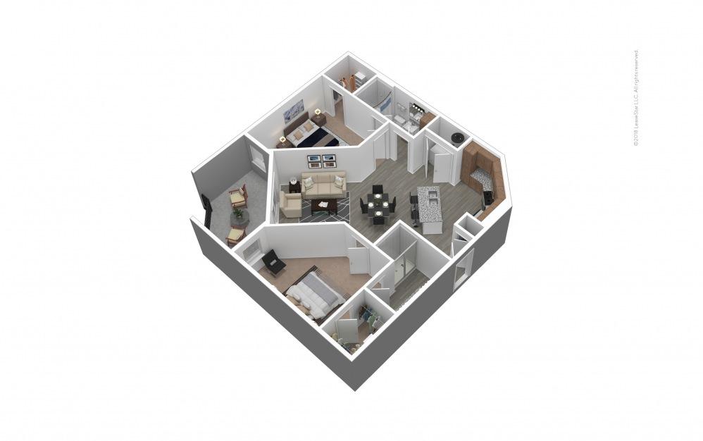 Furnished B3 Floor Plan Rendering