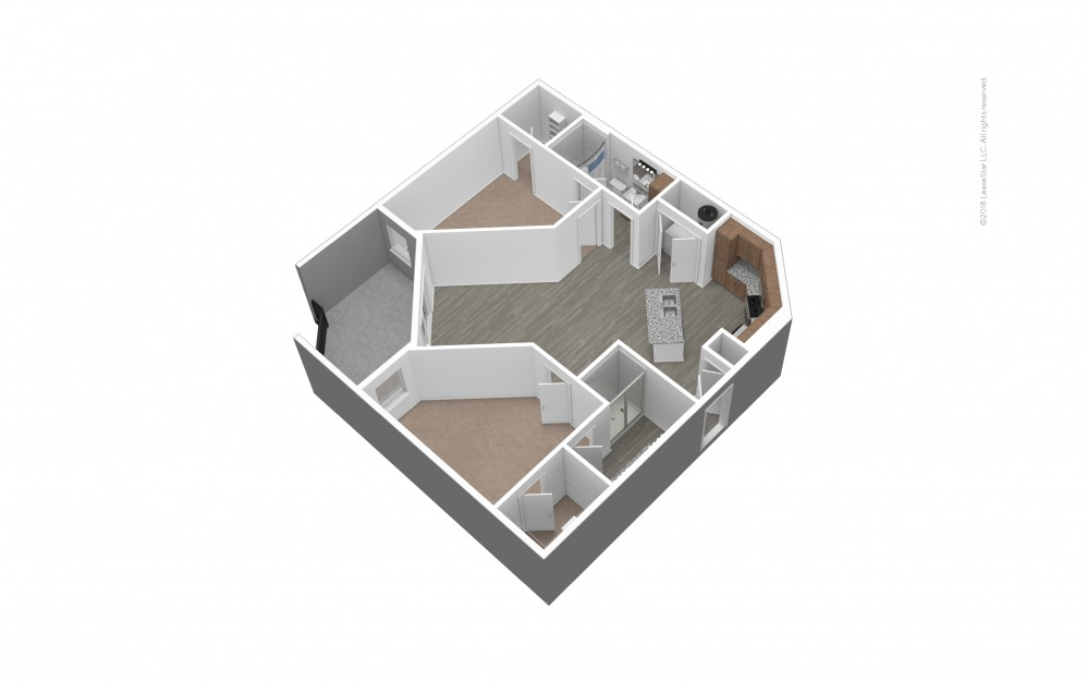 Unfurnished B3 Floor Plan Rendering