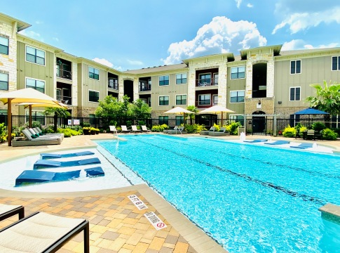 Resort style pool at apartments near Spring, TX