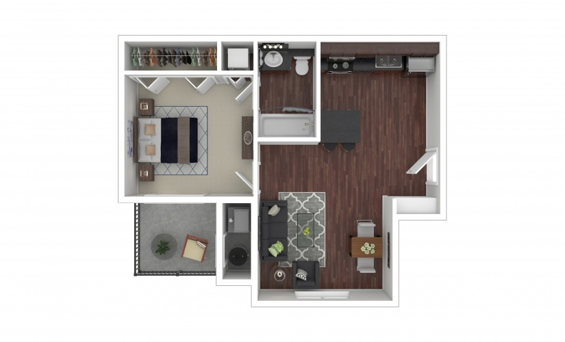 Primrose 1 bedroom 1 bath 610 square feet