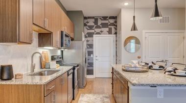 Cortland Cary Modern Cabinetry with Under-Cabinet Lighting, Designer Hardware, and Tile Backsplashes