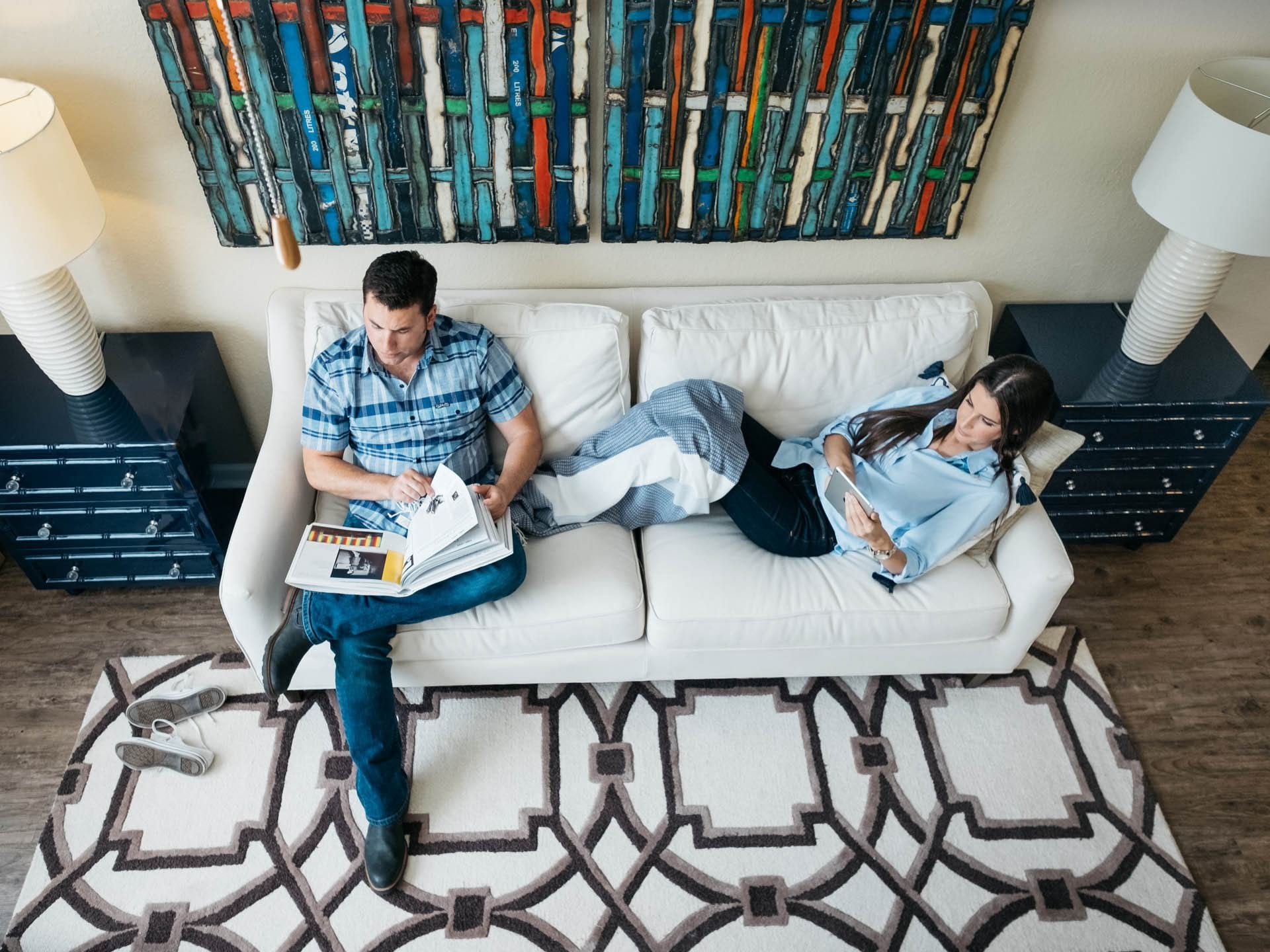 Couple on Couch Reading