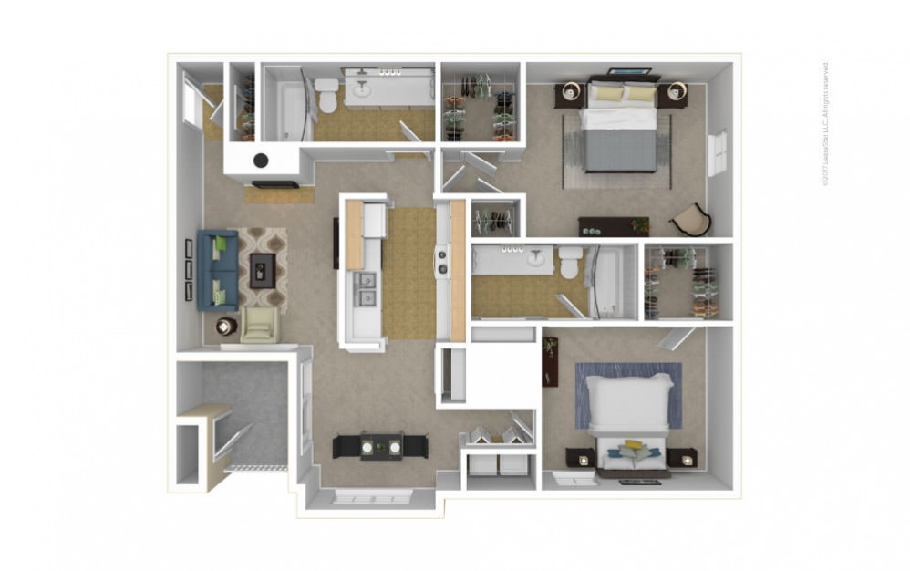 The Somerset Floor Plan—3D Furnished