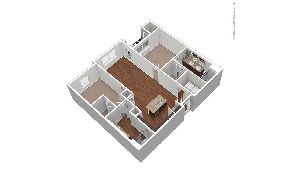 Unfurnished B1 Floor Plan Rendering